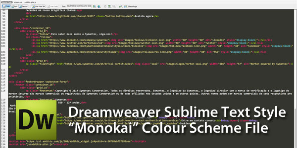 Dreamweaver Sublime Text Monokai Colour Scheme File