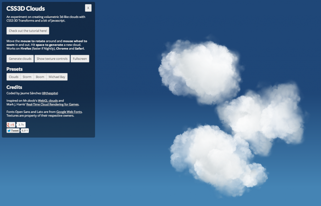 Amazing CSS3 animated cloud renders