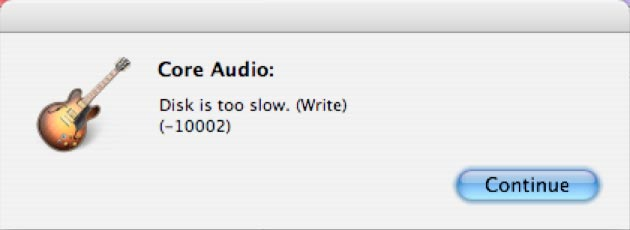 GarageBand Disk is too slow