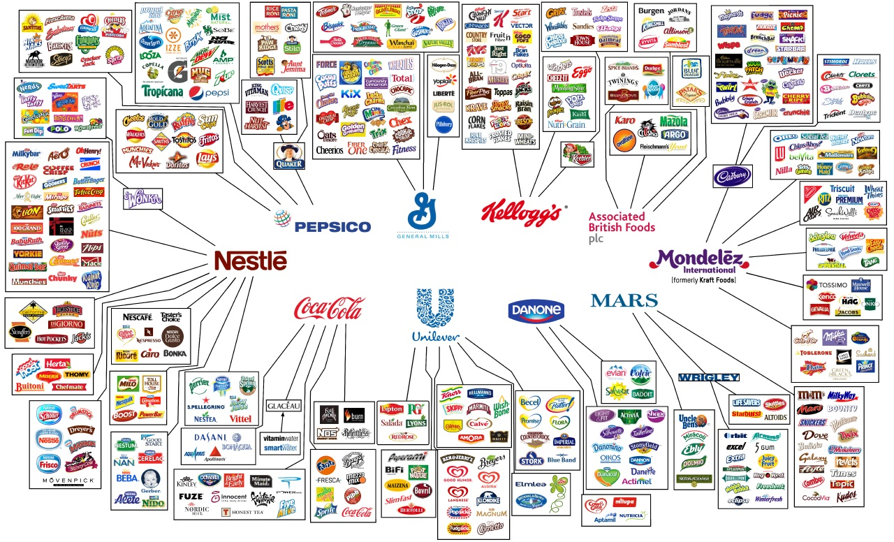 Amazing Brand Infographic Showing Parent Companies and Sub ...